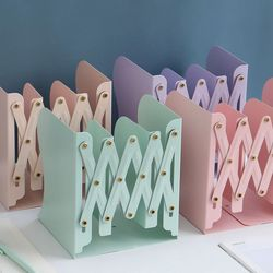 MINKYS Morandi Color Retractable Metal Bookends Book Holder Stand Nordic Style Book Shelf Kawaii Desk Organizer Kids Stationery