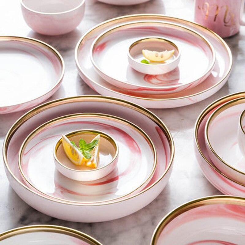 Nouveau 6 personnes ensemble rose marbre céramique plat à dîner riz salade nouilles bol assiettes à soupe vaisselle ensembles vaisselle cuisine cuisinier outil