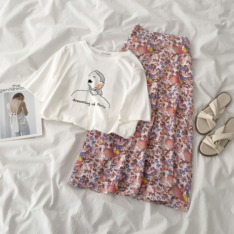 Elegant Vintage Two-piece Suit Summer 2020 New Women Korean White Short-sleeved T-shirt + High Waist Floral Chiffon Skirt