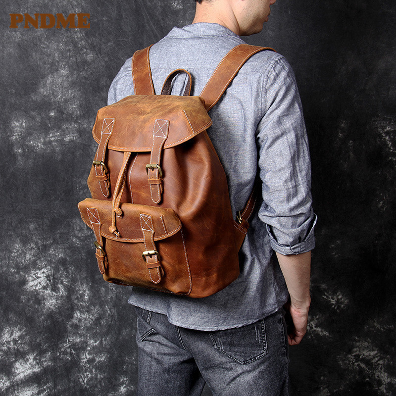 PNDME High Quality Crazy Horse Cowhide Men's Large Capacity Backpack Vintage Anti-theft Genuine Leather Travel Laptop Bagpack