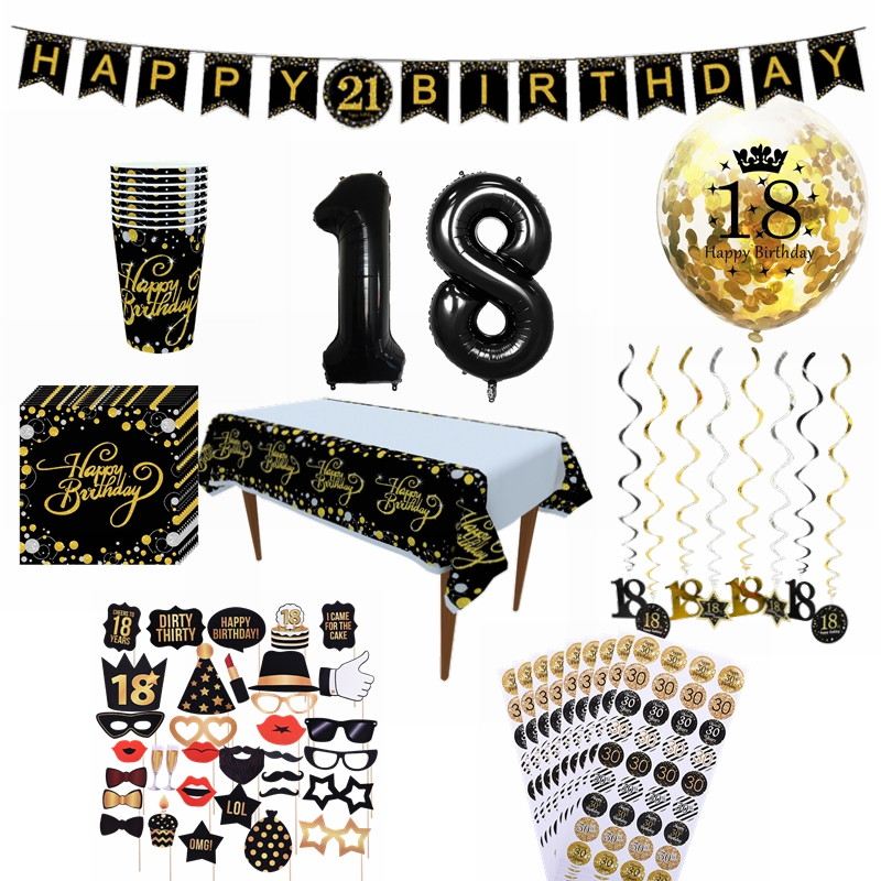 18 Year Old Happy Birthday Balloons DIY PhotoBooth Disposable Tableware Cups Napkins Anniversary Adult Birthday Party Decoration