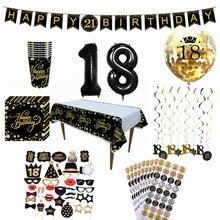 18 ans joyeux anniversaire ballons bricolage PhotoBooth vaisselle jetable tasses serviettes anniversaire adulte fête d'anniversaire décoration