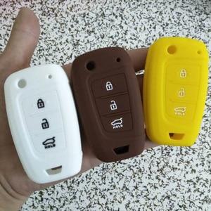 Image 4 - For Hyundai Solaris 2 Elantra i30 i35 i40 Tucson Kona 2017 2018 3 Buttons Folding Remote protect Silicone Car Key Cover Case