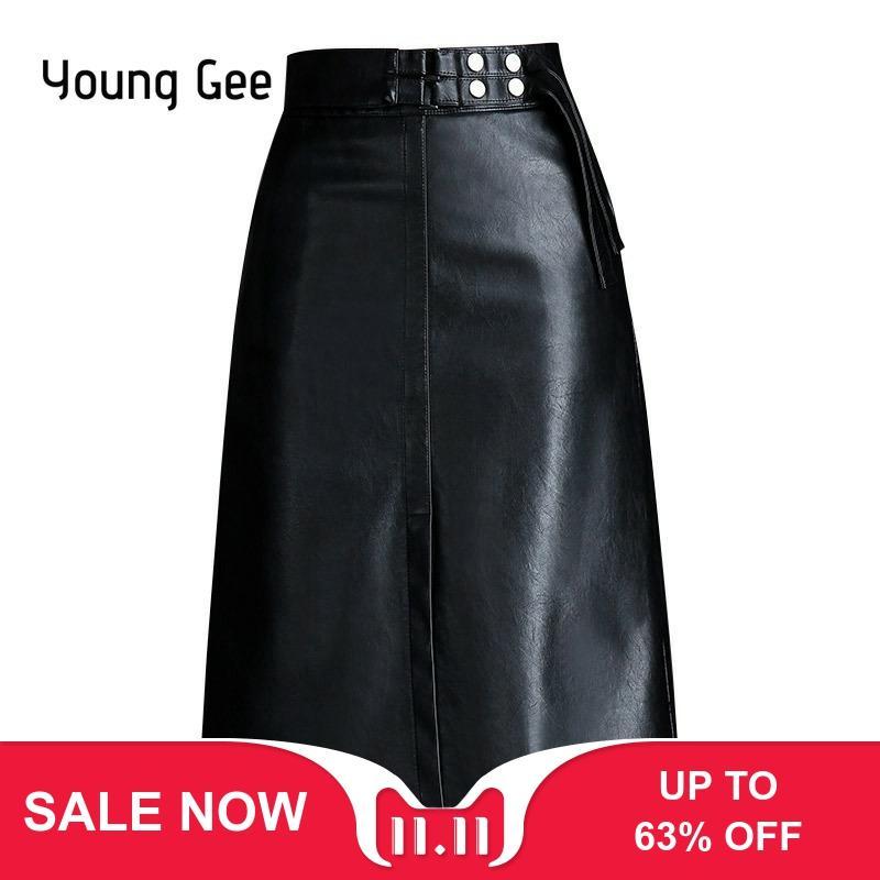 Young Gee Spring Autumn Women Skirt Fashion PU Leather Midi High Waist A-line Elegant Office Work Wear Skirts Saias Plus Size