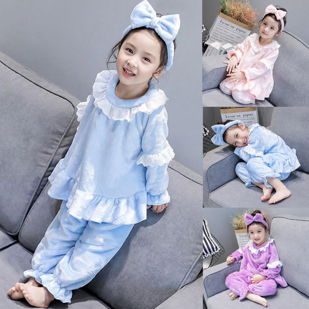 Pajamas Toddler Outfits Sleepwear Ruffle Baby-Girls Kids Long Thick Flannel Soft Plush-Tops title=