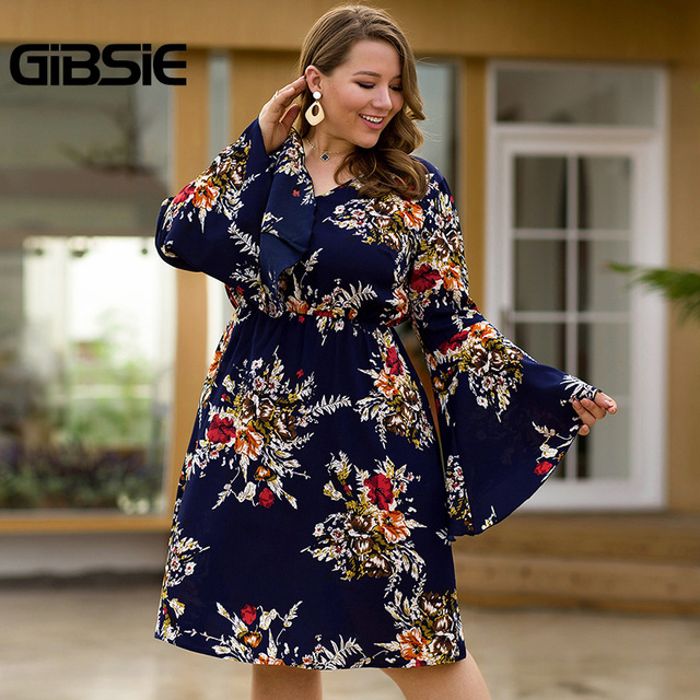 GIBSIE Flare Long Sleeve V-neck Tunic Women Dress Autumn Floral Print High Waist Casual Plus Size Knee Length Mid A-line Dress 3