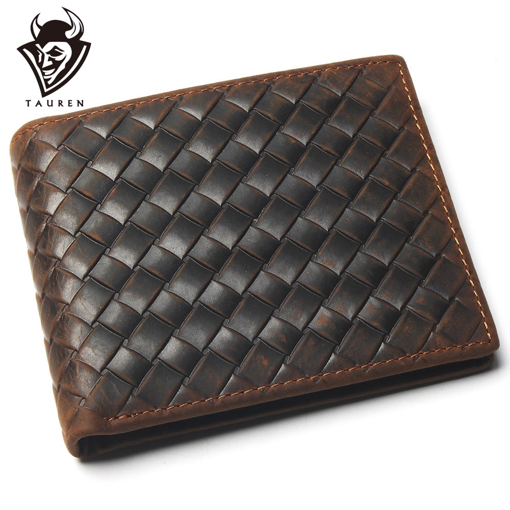 Genuine Leather Wallet With Card Page Credit Card Crazy Horse Men Woven Pattern Men's Stylish And Fashionable Leather Coin Purse