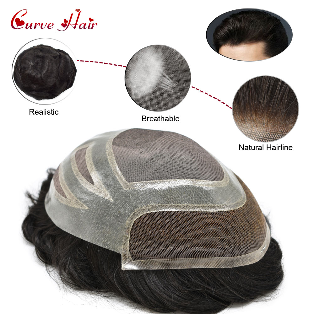 French Lace Front With  Skin Mens Toupee Hairpiece 120% Light Medium Density Human Hair Replacement System Natural Hairline