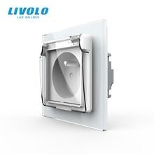 Livolo צרפתית 16A סטנדרטי כוח שקע, קריסטל זכוכית פנל, 3 תקע המתנה עם התיכון פין, 16A בקיר poewer תקעים