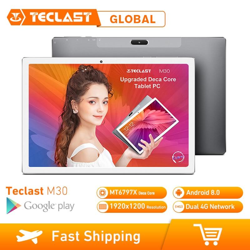 Teclast M30 10.1 polegada 4G Phablet 64 3 Tablets Android 8.0 GB RAM GB ROM 1920x1200 Tablet PC MT6797 X27 Deca Núcleo 7500mAh GPS