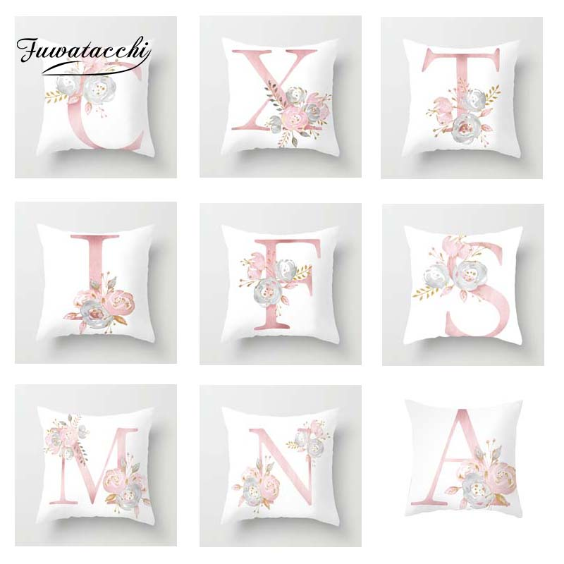 Fuwatacchi A-Z Letter Cushion Cover Pink White Rose   Soft Throw Pillow Cover Decorative Sofa Pillow Case Pillowcase