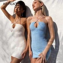 Articat mulheres halter sexy sem costas vestido 2021 verão sem alças oco para fora praia mini vestidos senhoras sólidos ruched festa vestidos
