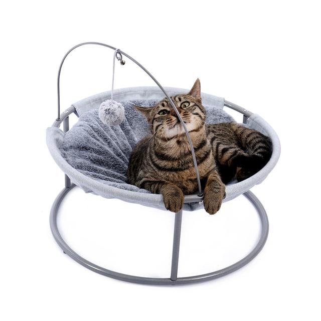 Pet Cat Bed Soft Plush Nest Cat Hammock Detachable Mat Pet Bed with Dangling Ball for Cats Small Dog Squar Tumbler Rocking Chair 1