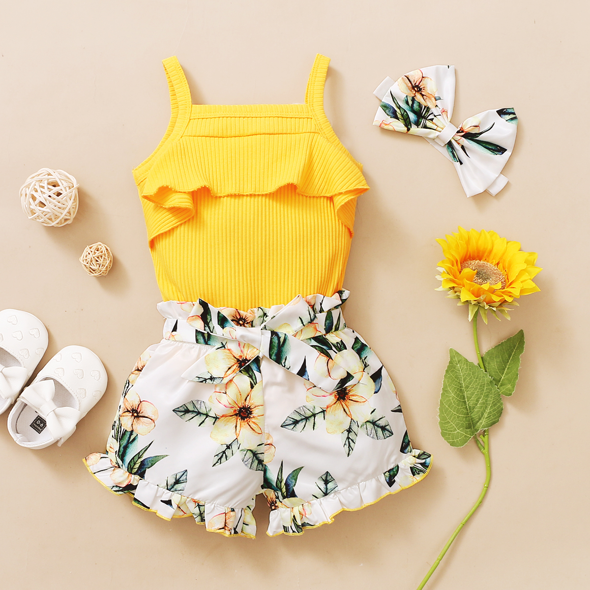 3Pcs Newborn Baby Girls Summer Clothes Cute Beach Boho Strap Ruffle Romper Floral Shorts Toddler Outfit Baby Girls Clothing 4