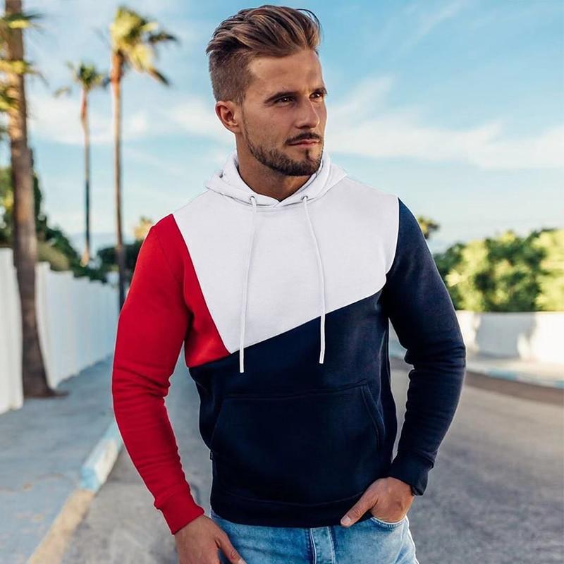 Mens Hoodies Sweatshirt 2019 Streetwear Patchwork Hoody Pullover Black White Hoodie Men Winter Fleece Sweatshirts Clothing