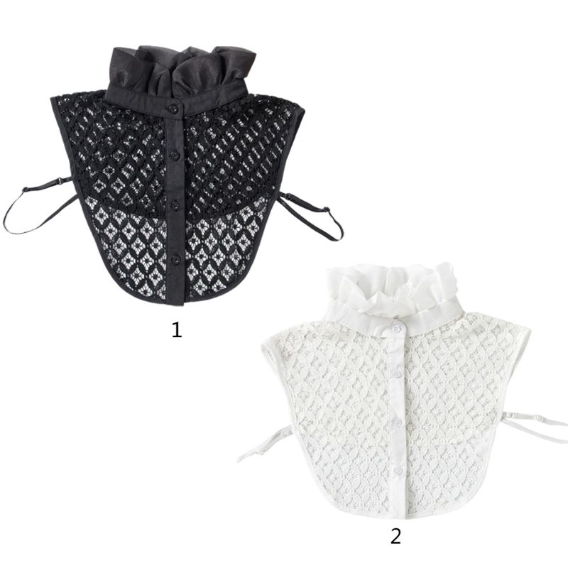 Womens Hollow Crochet Lace Detachable Half-Shirt Ruffles High Neck Fake Collar