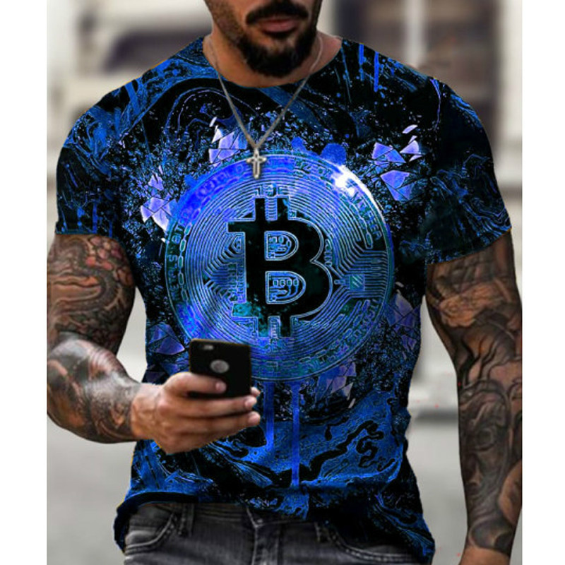 2021 Hot Loose Short Sleeve sports mens T-shirt big round neck bitcoin 3D printing leisure and breathable fitness men wear 3