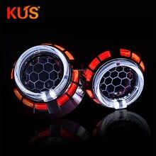 2.5 Inch 8.0 Bixenon Projector Lens Dual LED Angel Eyes Color Shroud Retrofit H4 H7 Universal Car Use H1 Xenon Bulb Headlight