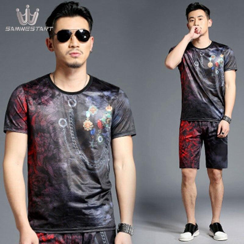 SAMWESTART Men's Sets Summer Short Sleeve Pants Male Sport Sets Fashion Modern O-Neck Elastic Waist Pocket Black Menswear