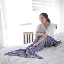Simanfei Fishtail Blankets Knitted Fish Scale Mermaid Towel Blanket Carpet Solid Color Soft Wearable For Sofa and Bed