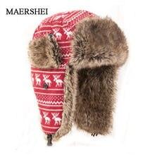 Super ciepłe dzianiny Bomber kapelusz dla kobiet mężczyzn na zewnątrz wiatr zapobiec rosyjski kapelusz Snowflower czapka traperska Deer czapka z nausznikami czapka