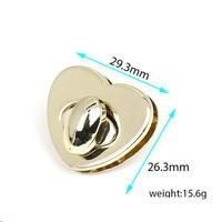 50/batch Heart shape Metal Clasp Turn Lock Twist Lock for DIY Handbag Bag Purse Hardware Closure Bag Parts Accessories