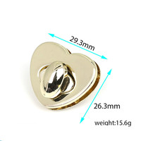 50/batch Heart shape Metal Clasp Turn Lock Twist Lock for DIY Handbag Bag Purse Hardware Closure Bag Parts Accessories