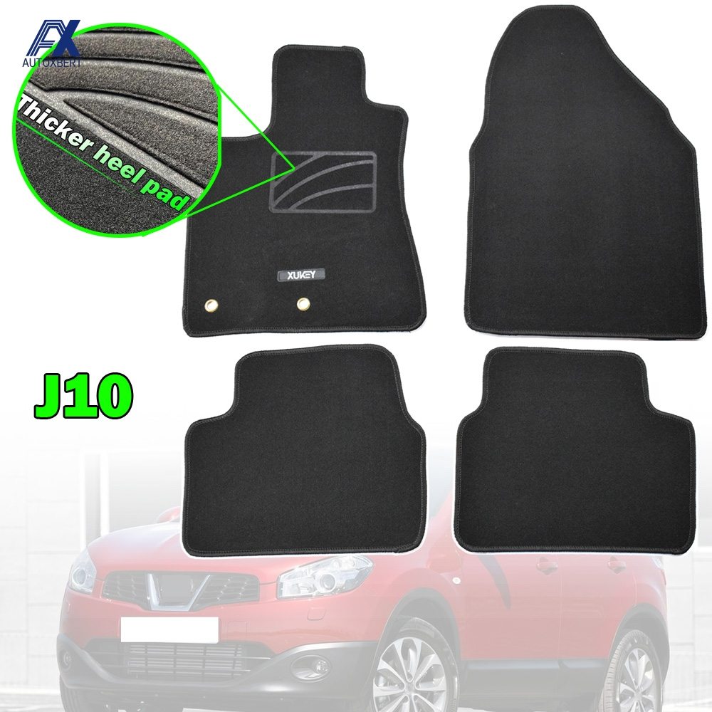 Mats Carpet-Liner Floor-Mat Qashqai J10 Nissan 2007 for Nylon Black Front Rear 2009 2008 title=