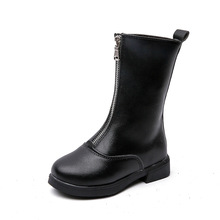 Autumn Winter Girls Boots Children Fashion boots Kids PU Leather Shoes 4 5 6 7 8 9 10-14T Black Red