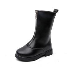 цена Autumn Winter Girls Boots Children Fashion boots Kids Boots Girls PU Leather Shoes 4 5 6 7 8 9 10-14T Black Red онлайн в 2017 году