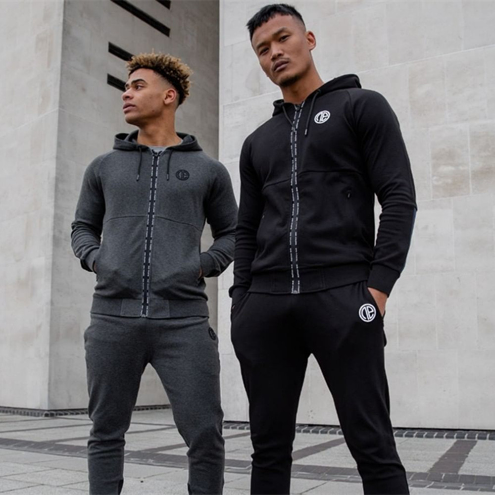 New Men's hooded sportswear suits Fitness clothing Personality zipper long sleeves coat+ Fashion patchwork Small leg trousers