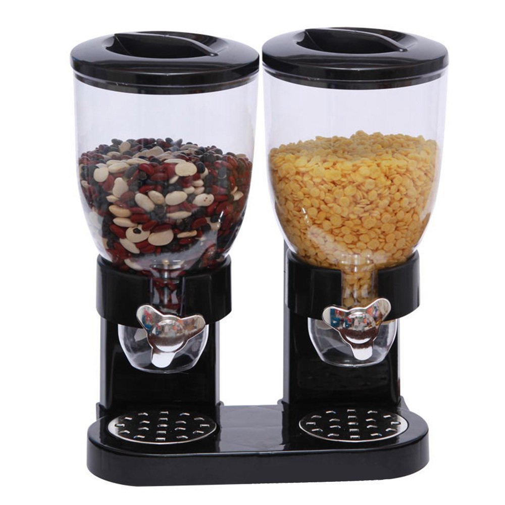 5L Double Cereal Dispenser Dry Food Storage <font><b>Container</b></font> Canister Machine 2 Colors new image