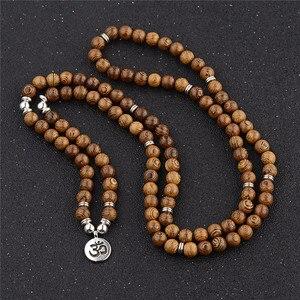 Image 1 - Pulseira de contas de yoga 108, unissex, de madeira de sândalo, budista, oração, contas de lotus, colar, rosário