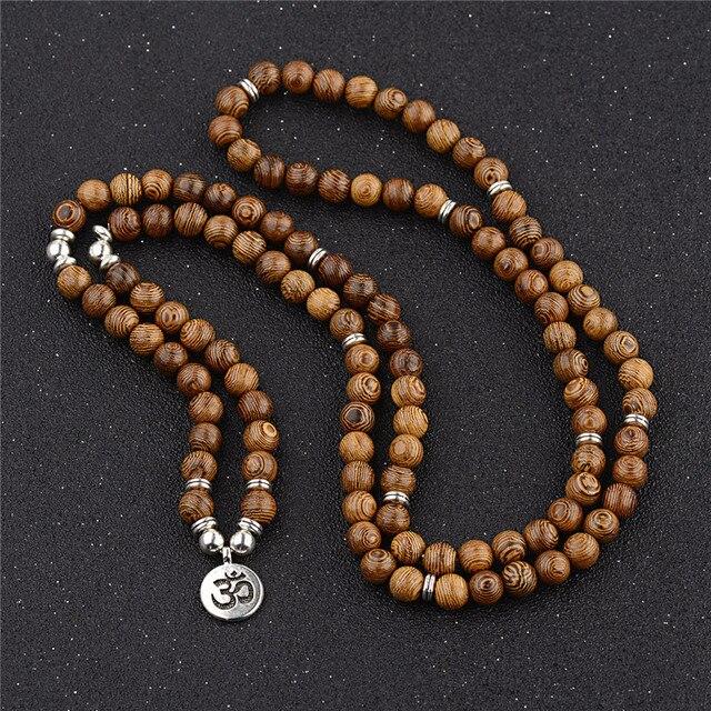 Pulseira de contas de yoga 108, unissex, de madeira de sândalo, budista, oração, contas de lotus, colar, rosário