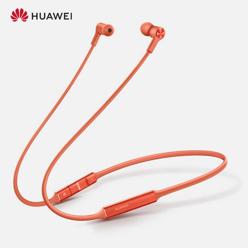 Versi Global Huawei Freelace Olahraga Earphone Tahan Air Nirkabel Bluetooth Headset Memori Kabel Metal Rongga Cair Silicon