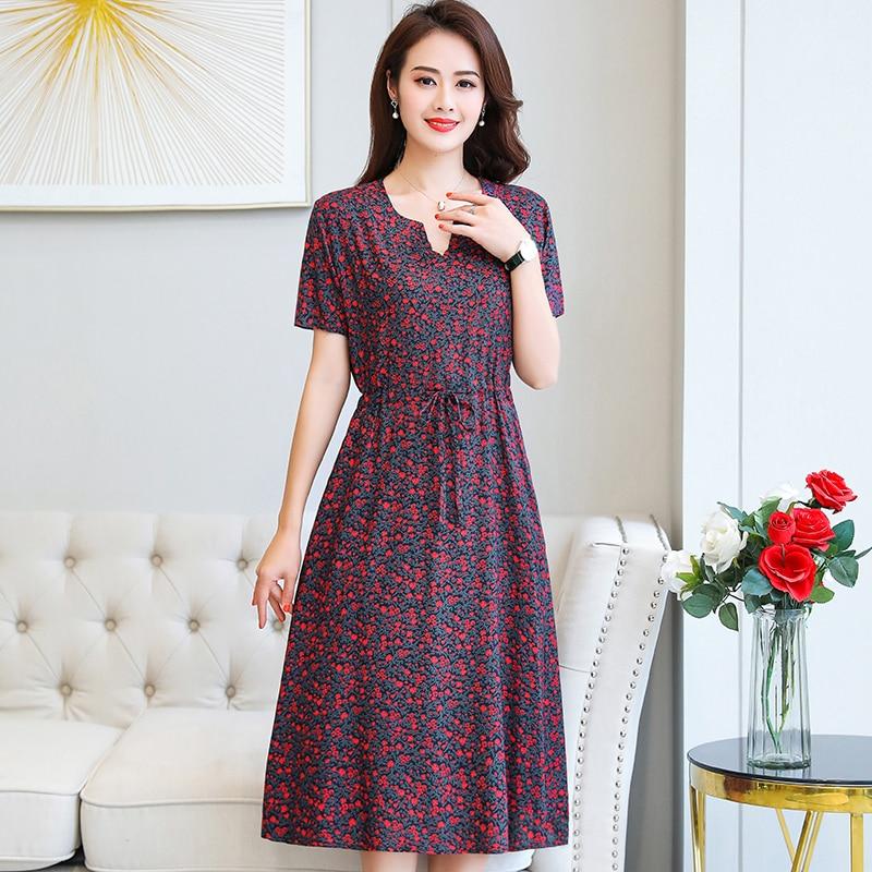 Plus Size XL-6XL 2020 New Women Summer Long Dress Slim Flowers Print Dress Women High Quality V-Neck Short Sleeve Casual Dress 5