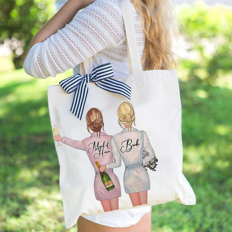 Bride to be Maid Of Honor tote Bag Bridesmaid Gift proposal rustic wedding Bachelorette hen Party bridal shower decoration favor