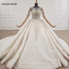 HTL1240 2020 bride dressing gown off the shoulder long sleeve crystal tassel lace up luxury white wedding dress vestido de novia