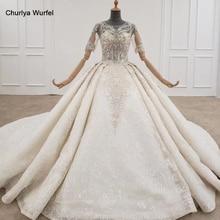 HTL1240 2020 הלבשה כלה שמלה כבויה כתף ארוך שרוול קריסטל ציצית תחרה עד יוקרה לבן חתונת שמלת vestido דה novia