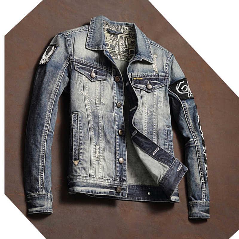 Nowości importowane męskie jeansy dla motocyklistów kurtki Streetwear Patchwork wzór projektant męski garnitur płaszcze dżinsowe XXXL A200