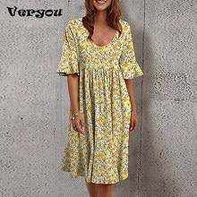 Women Loose Summer Dress Female O-Neck Short Sleeve Ruffle Party Dress Plus Size Casual Floral Print Boho Spring Dress 2021