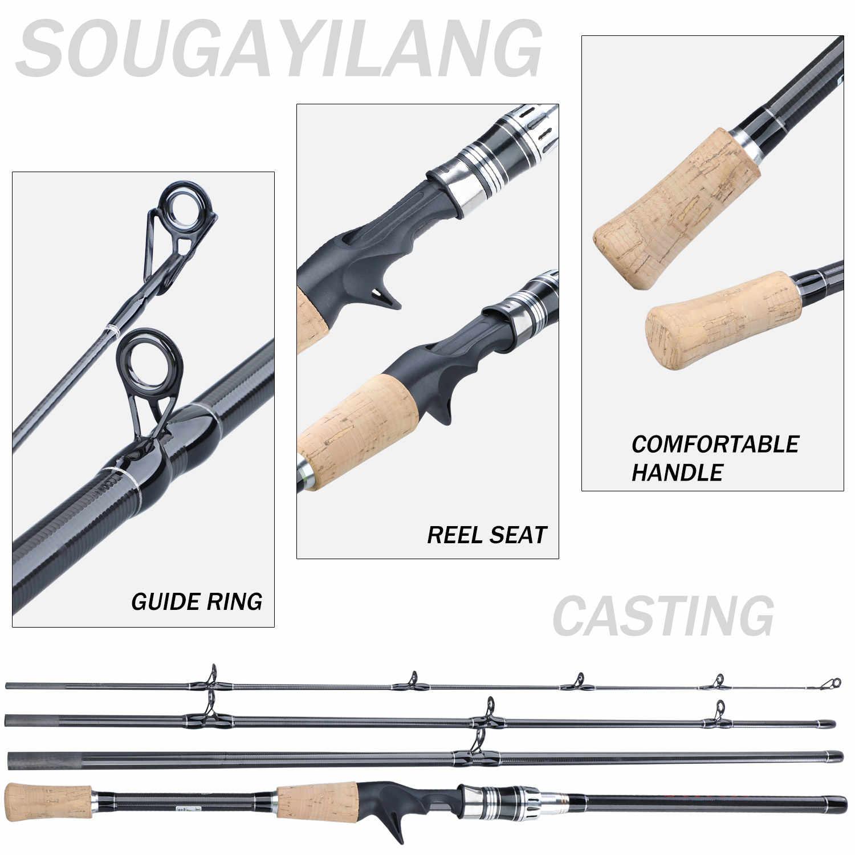 Sougayilang New2.1M 미끼 낚싯대 콤보 휴대용 4 섹션 탄소 막대와 Baitcasting 릴 낚시 바퀴 세트 Pesca