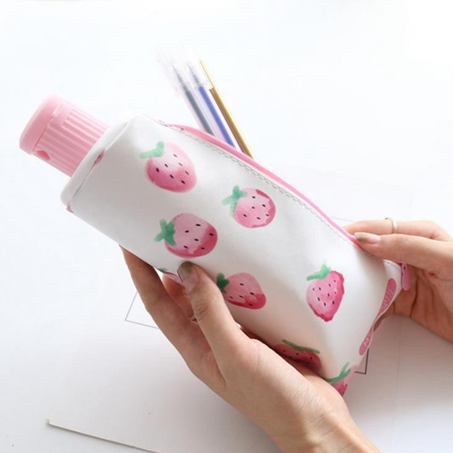 Fruit Strawberry Toothpaste With Pencil Sharpener Pencil Case for Girls Boys Stationery Cute  PU Big Pencil BagSchool Supplies