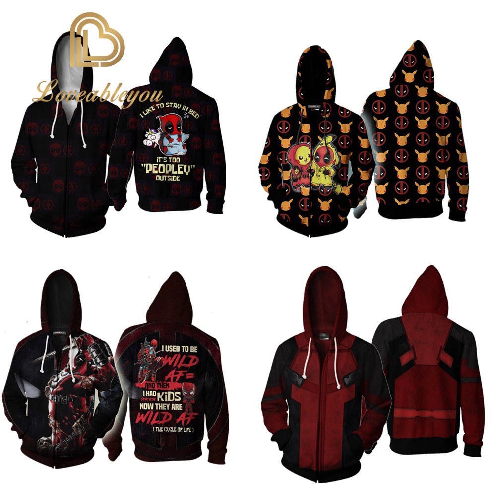 Mens Hooded Cosplay Venom Sweatshirt Deadpool Hoodie Jacket Marvel Superhero Pikachu Cosplay Costume Streetwear
