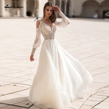 Lakshmigown Puffy Long Sleeve Bridal Dress 2021 Princess Women Beach Wedding Dresses Lace Backless Vestidos Boda Boho Style