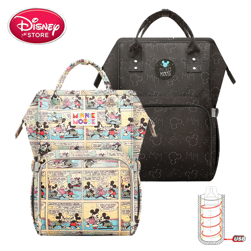 Disney Mickey Mouse Mummy Diaper Bags With USB Charging For Baby Care Nappy Nursing Bag Travel Maternity Backpack Handbag