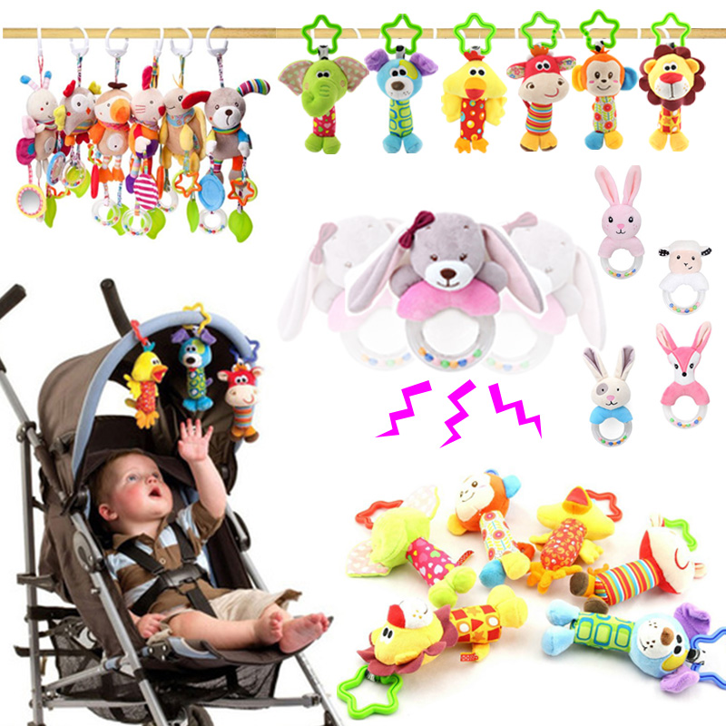 Newborn Baby Plush Stroller Toys Baby Rattles Mobiles Cartoon Animal Hanging Bell Educational Baby Toys 0-12 Months Kid Gifts