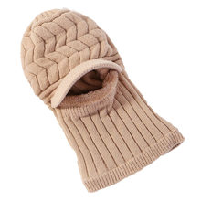 High Quality Women Warmer One-piece Face Knitted Beanie Thick Mask Balaclava Ski Windproof Hats Scarf Winter Warm Earmuffs(China)