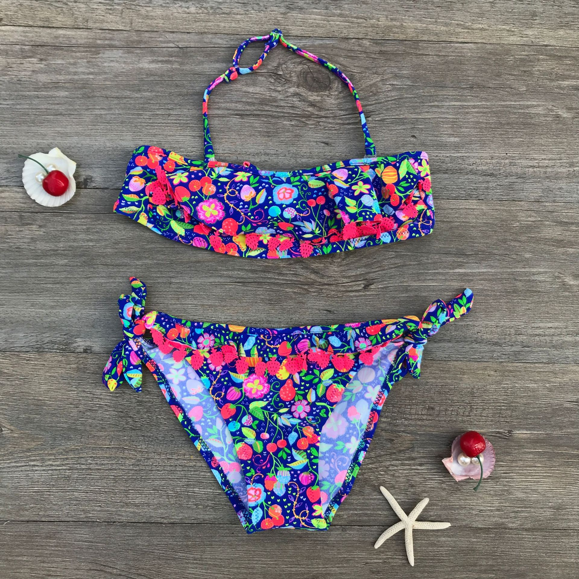 2019 Hot Selling Strawberry Hollow Out CHILDREN'S Bikini Girls Swimsuit 31
