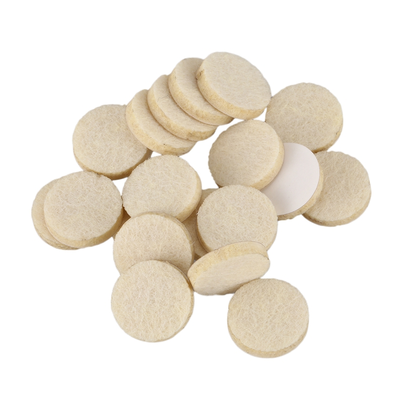 HLZS-20pcs Self-Stick 3/4 Inch Furniture Felt Pads For Hard Surfaces - Oatmeal, Round
